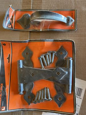 Ornamental T hinge set and door pull hardware garage or furniture for Sale in Bakersfield, CA