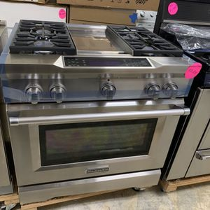 Slide Stove Dual Fuel Gas Range Kitchen Aid Stainless Steel W36 for Sale in City of Industry, CA