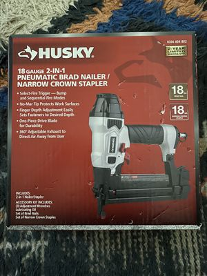 Brand new husky 18g 2 in 1 brad nailer and stapler pneumatic for Sale in Los Angeles, CA