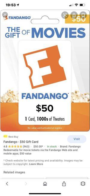 $50 New unused FANDANGO CARD Movies kids adults Tv amount can be verified online before you buy it Only $30 for Sale in Wilton Manors, FL
