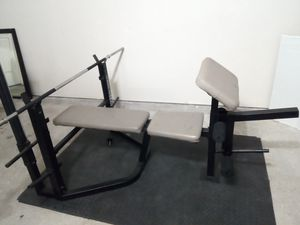 Elite weight bench + barbell. (exercise set;workout) for Sale in Katy, TX