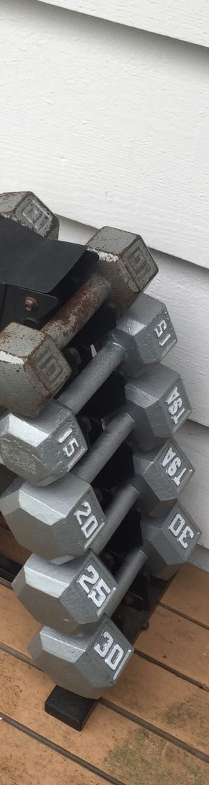 Dumbbell weight set with dumbbell rack home gym equipment for Sale in Mercer Island, WA