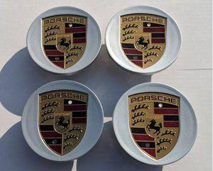 Porsche caps wheel rim center cap 76mm 3 inch diameter BRAND NEW SET OF 4 CAYENNE CAYMEN PANAMERA BOXSTER 911 718 917 grey silver gloss black for Sale in Huntington Beach, CA