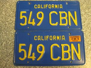 1970 California License Plates, DMV clear guarante