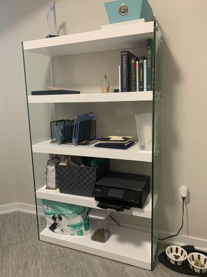 White/Glass Bookshelf for Sale in West Palm Beach, FL