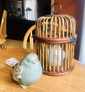 2 Large Ceramic Birds from Revive Furniture and Home Decor and a vintage Bird Cage made of Bamboo and Wood for Sale in Orlando, FL
