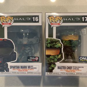 Halo Master Chief Funko Pop Set *MINT* Gamestop Best Buy MA40 Shock Assault Rifle Hydro Camo Spartan Mark VII Exclusive w/ protector for Sale in Lewisville, TX