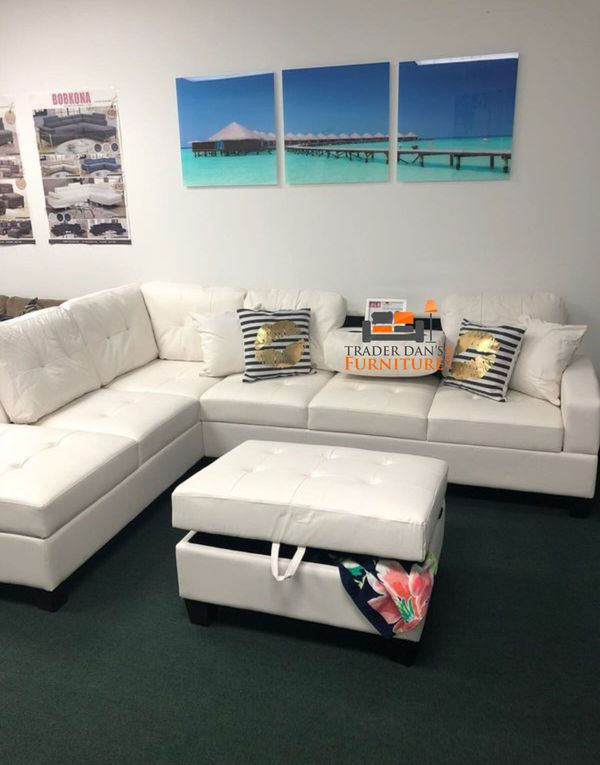 Brand New White Faux Leather Sectional Sofa Couch + Storage Ottoman