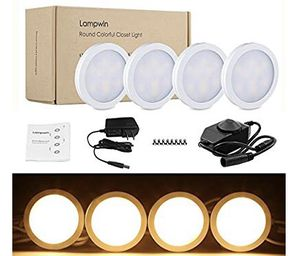 NEW! LED Under Cabinet Lighting - 4 Pack Lampwin 2018 Warm White New Dimmable Kitchen Under Cabinet Puck Light Fixture Kit for Chirstmas Decorating K for Sale in Stuart, FL