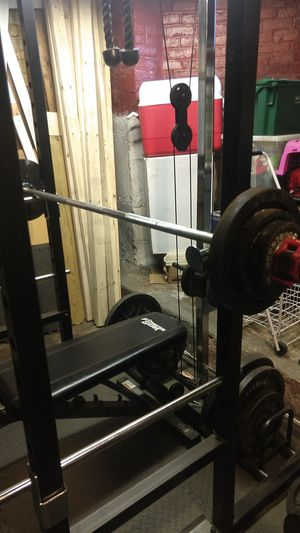 Marcy Weight/ squat rack with set 10-45s for Sale in Boston, MA