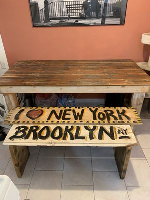 Kitchen Table W/ Two Custom NY Benches for Sale in Los Angeles, CA