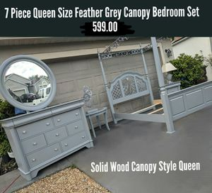 7 Piece Queen Size Solid Wood Feather Grey Canopy Style Bedroom Set for Sale in St. Cloud, FL
