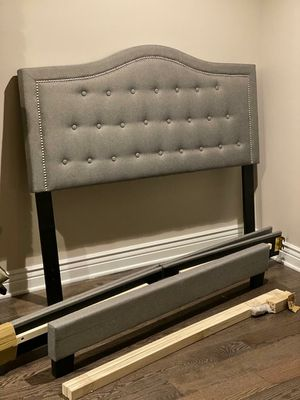 Full size Upholstered Bed, Gray linen - headboard, footboard, and frame. for Sale in Darien, IL
