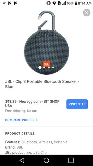 Jbl clip 3 Bluetooth speaker for Sale in South Hutchinson, KS