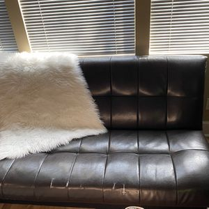 Full Size Futon Faux Leather Convertible Sofa With Storage for Sale in Columbus, OH