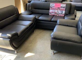 Black 3 Piece Sofa Set for Sale in Atlanta,  GA