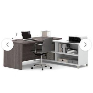 Desk (Bestar, L-Shaped, White/Grey) for Sale in Falls Church, VA