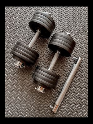 Brand new 105 lb pair (2) adjustable dumbbells with bar barbell attachment (not negotiable) for Sale in Chula Vista, CA