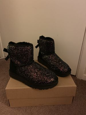 100% Authentic Brand New in Box UGG Classic Mini Bailey Bow Cosmos Boots / Color Black / Women size 6 for Sale in Lafayette, CA