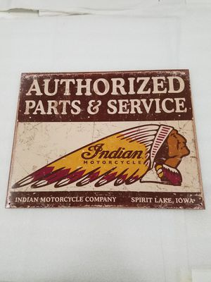 Indian motorcycle bike parts metal sign for Sale in Vancouver, WA