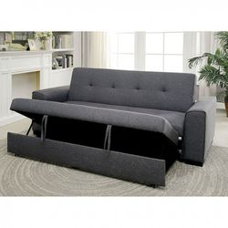 GRAY LINEN LIKE FABRIC SOFA PULL OUT ADJUSTABLE BED FRAME COUCH - SILLON CAMA for Sale in San Diego,  CA