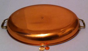 "Vintage Metal Copper and Brass Oval Pan, 15 1/2"" Handle to Handle, 13 1/2"" x 9 1/2 Pot Size, Quality Copper, Kitchen Décor, Hanging Décor, Shelf Displ for Sale in El Cajon, CA"