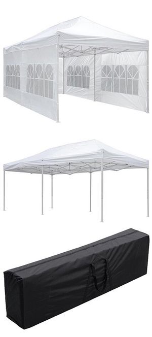 $190 NEW Heavy-Duty 10x20 Ft Outdoor Ez Pop Up Party Tent Patio Canopy w/Bag & 6 Sidewalls, White for Sale in Whittier, CA