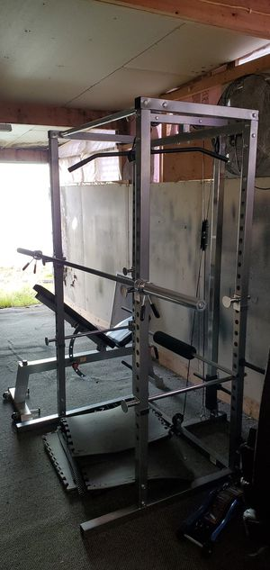 Power cage, bench, bar and weights for Sale in Tacoma, WA