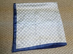 Gucci Monogram Silk Scarf Blue / White Vintage for Sale in Gurnee, IL