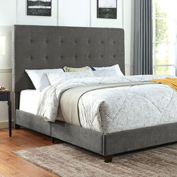 free delivery * GRAY LINEN LIKE FABRIC QUEEN SIZE BED FRAME - CAMA - entrega gratis for Sale in Bell Gardens,  CA