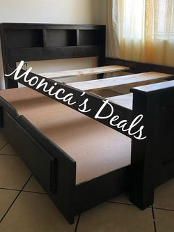 Full Size Solid Wood Bed & Twin Trundle Frame $420 for Sale in Montebello,  CA