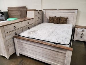 5 PC Queen Bedroom Set, Whitewash for Sale in Downey, CA