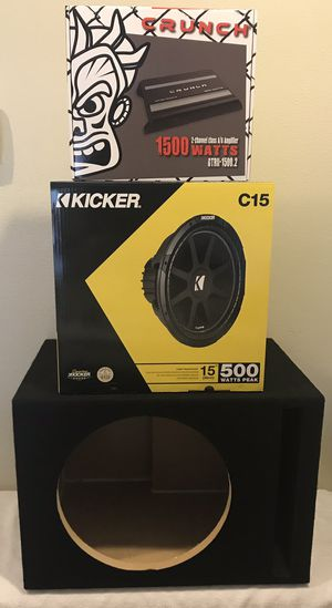 "New 15"" inch KICKER Comp Subwoofer + 1500 Watts CRUNCH Bass Amplifier Package w/ 15"" Ported Box 🔊🔥💰 for Sale in Hemet, CA"