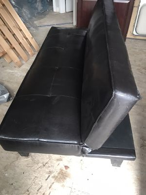 Chocolate Leather Futon for Sale in Chelmsford, MA