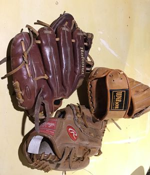 Baseball Gloves Wilson, Rawlings, nokona $200.00 for all three or $75.00 each for Sale in Braintree, MA