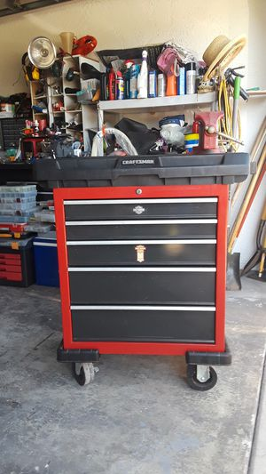 Craftsman Roll Away Tool Cart With Sliding Top Shelf For Storage 5 Drawers (SOLD VISE REDUCED PRICE FOR BOX $120)! for Sale in Cape Coral, FL