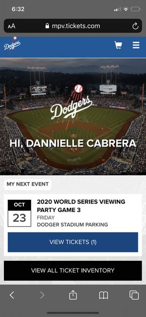 Ticket for Game 3 Dodger Viewing party for Sale in Covina, CA