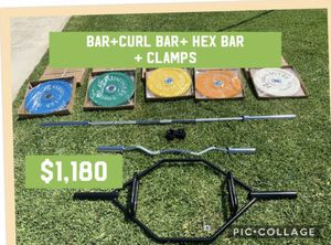 260LBS OF BUMPER PLATES WITH BARBELL BAR, CURL BAR, HEX BAR WITH COLLAR CLAMPS for Sale in Los Angeles, CA