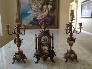Gorgeous French clock with 2 candelabras. The French Ormolu clock with a pair of candelabras and original sniffers signed by artist Carl 3130-48 Darg for Sale in Boca Raton, FL