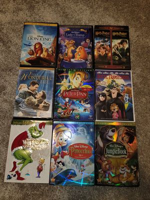 9 KIDS DVD'S.. MOSTLY DISNEY... THE LION KING, PINOCCHIO, THE JUNGLEBOOK for Sale in Brentwood, NC