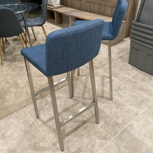 """Pair of 30"""" Blue Denim Barstools with Steel Frame for Sale in Irvine, CA"""