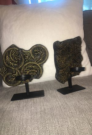 Two cute real wood with cast iron candle holders for Sale in Lacey, WA