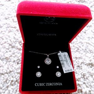 Price Just Dropped: Brand New Sterling Silver Cubic Zirconia Pendant Earring Set ($100: Original Price) for Sale in Bellevue, WA