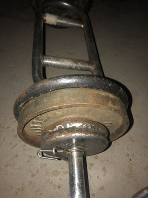 Standard curling bar with 50 pounds $25 for Sale in Hesperia, CA