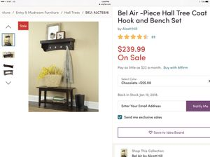 BRAND NEW Bel-Air Hall Tree Coat Hook and Bench Set for Sale in Columbus, OH