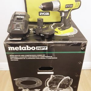 METABO HPT Air Compressor Combo Kit + RIOBY 18V Drill Driver Contractor Set for Sale in Brooklyn, NY