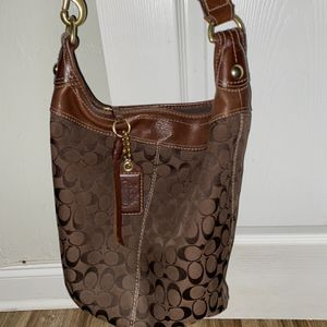 Large Authentic Coach Logo Bucket Bag Brown for Sale in West Palm Beach, FL