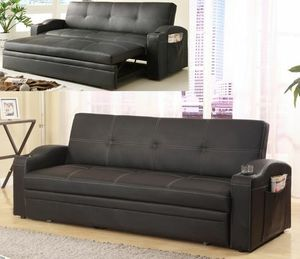 No credit needed 100 days no interest black faux leather sofa bed with under trundle for Sale in Takoma Park, MD