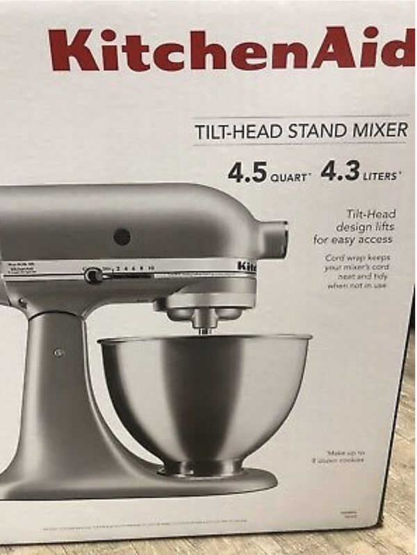 Kitchen Aid stand mixer by KitchenAid Brand New Never Opened Silver 4.5 quart stand mixer tilt head Stainless steel