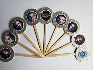 Set of 24 game of thrones cupcake toppers glitter silver beautiful on cupcakes desserts birthday party food supplies cake decor decorations for Sale in New York, NY